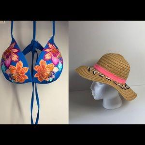 Time & Tru Bikini Top/Addie & Tate Hat combo